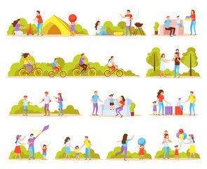 Family Activities Orthogonal Icons