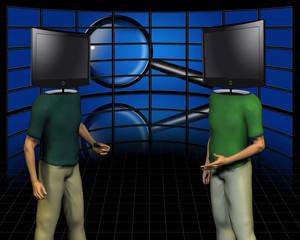 Dispute.  TV screens - head man