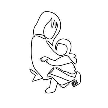 Continuous Line Drawing of Vector illustration mother with her baby in sling. Wearing baby in sling logo.