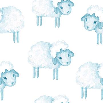 seamless pattern watercolor cartoon illustration. sheep