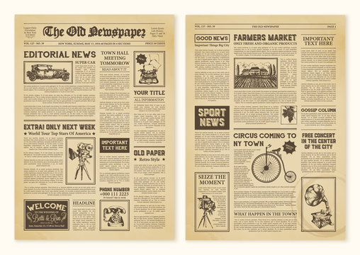 Newspaper Pages In Vintage Design