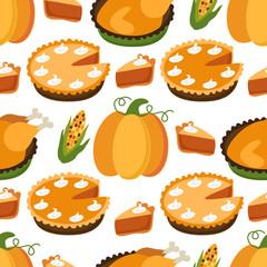 Cute Seamless Pattern with Pumpkin Pie and Turkey