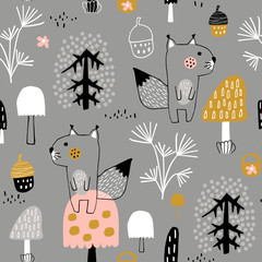 Seamless childish pattern with cute squirrels in the wood. Creative kids city texture for fabric, wrapping, textile, wallpaper, apparel. Vector illustration