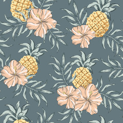 Tropical pink hibiscus flowers, pineapples, palm leaves, dark gray background. Vector seamless pattern. Jungle illustration. Exotic plants and fruits. Summer beach floral design. Paradise nature