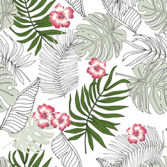 Tropical palm leaves, hibiscus flowers white background. Vector seamless pattern. Jungle foliage illustration. Exotic plants. Summer beach floral design. Paradise nature. Linear graphic