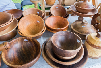 Handmade Wooden bowls sold at handicraft market