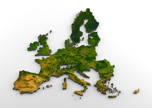 European Union (pre-Brexit) 3D Physical Map with Relief