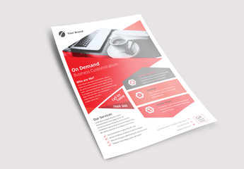 Flyer Layout with Hexagonal Shape Elements
