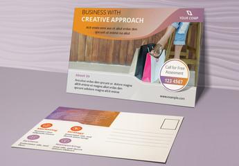 Postcard Layout with Gradient Purple-Orange Header