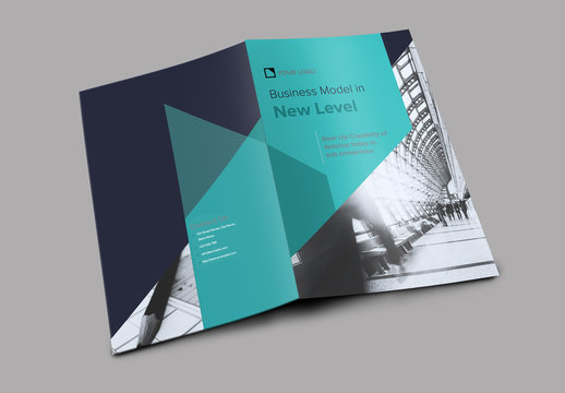 Bifold Brochure Layout with Navy and Teal Accents