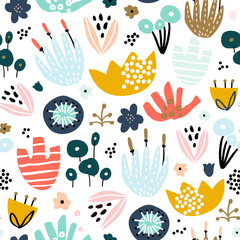 Seamless pattern with hand drawn flowers. Creative floral texture. Great for fabric, textile Vector Illustration