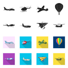 Isolated object of plane and transport symbol. Collection of plane and sky vector icon for stock.