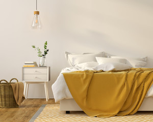 Bedroom interior with a yellow décor