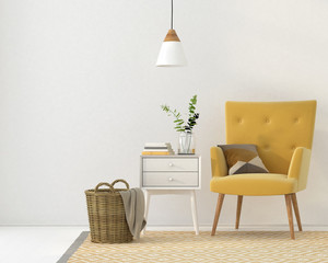 Yellow armchair against a white wall