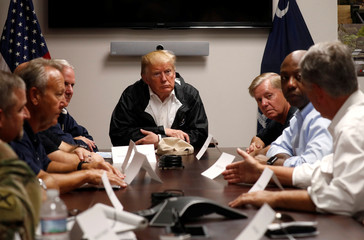 U.S. President Trump participates in briefing on Hurricane Florence recovery efforts in Conway, South Carolina