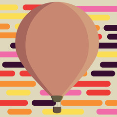 Flat design business Vector Illustration concept Empty template copy space Posters coupons promotional material. Three toned Color Hot Air Balloon afloat with Basket Tied Hanging under it