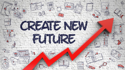 Create New Future Drawn on White Wall. 3d