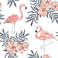 Tropical pink flamingo birds, hibiscus flowers bouquets, palm leaves, white background. Vector seamless pattern. Jungle illustration. Exotic plants. Summer beach floral design. Paradise nature