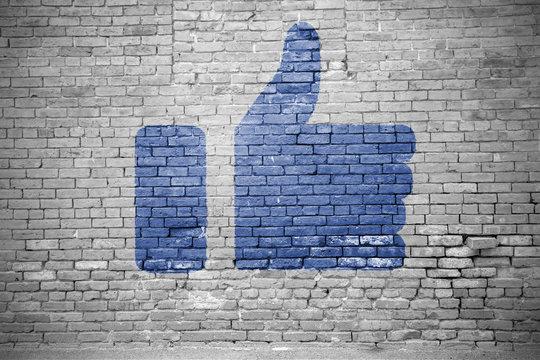 I Like social media Icon Graffiti (Thumbs up on bricks wall)