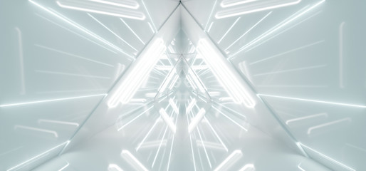 Modern Alien Ship Sci-Fi Futuristic Highly Reflective Bright Triangle Shaped Tunnel Empty Corridor With White Tube Lights And Stripes 3D Rendering