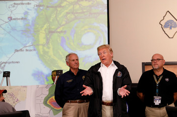 U.S. President Trump speaks during briefing on Hurricane Florence recovery efforts in Conway, South Carolina