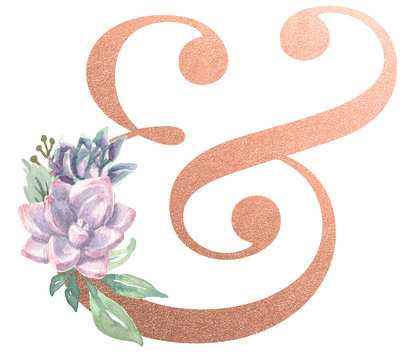 Watercolor Monogram Typography Ampersand Rose Gold Foil
