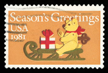 UNITED STATES -CIRCA 1981: A stamp printed by United States of America, shows felt bear on the sled, circa 1981