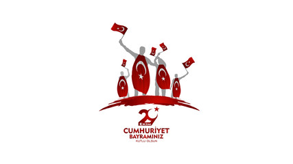 29 ekim cumhuriyet bayrami, Day Turkey. Translation: 29 october Republic Day Turkey and the National Day in Turkey. celebration republic. celebrating father and son and people vector illustration