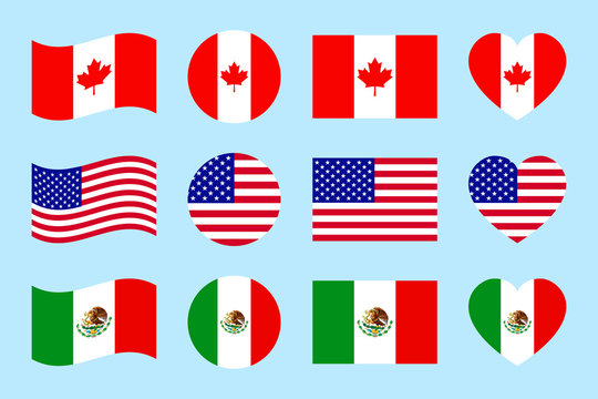 Northern america countries flags. vector illustration. Canada, USA, Mexico official flags. geometric shapes. Flat style. North american states. Us, Canadian, Mexican traditional symbols icons