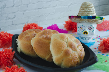 "Mexican celebration, day of the dead. Bread of the dead. ""Pan de muertos""."
