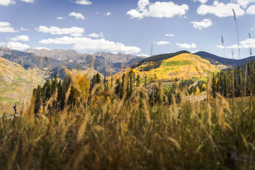 Autumn, landscape view of the Gore Range and Golden Peak in Vail, Colorado.