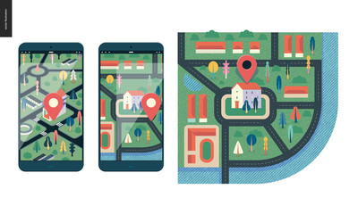 Business series, color 1 - map - modern flat vector illustration, creative concept of location. Isometric and flat maps with a marked building, streets and trees on the smartphone screens