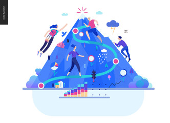 Business series, color 1- career -modern flat vector illustration concept of career - people climbing the mountain. Climbing up the career ladder process metaphor Creative landing page design template