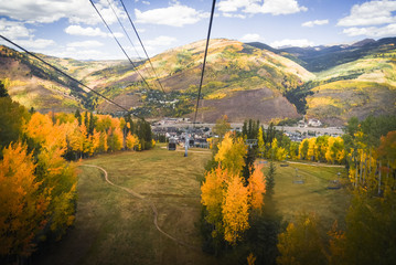 Autumn, landscape views of Vail, Colorado from a gondola.