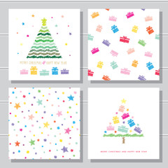 Christmas and New Year creative card templates and seamless pattern set. Kids colour pencils drawing.