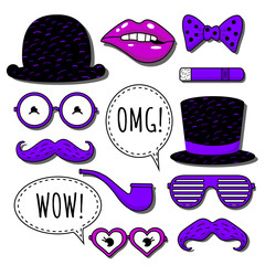 """Vector icon set with bowler hat, cylinder hat, eyeglasses, moustaches, bow tie, cigar, pipe on the violet and black colors, open mouth with pink lipstick and speech balloons with text """"OMG"""" ans """"WOW"""""""