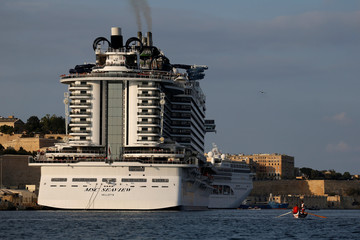 The cruise liner MSC Seaview is seen in Valletta's Grand Harbour
