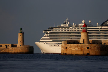 The cruise liner MSC Seaview leaves Valletta's Grand Harbour