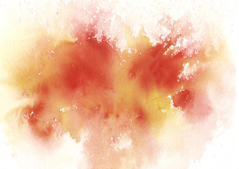 Watercolor hand-painted abstract spread autumn orange red colors stains illustration texture on white background