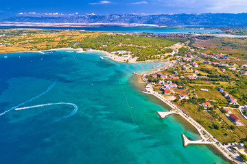 Aerial view of Zaton tourist waterfront and Velebit mountain background Wall mural