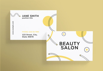 Business Card Layout with Pastel Shapes