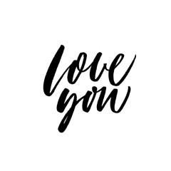 Love you card. Hand drawn brush style modern calligraphy. Vector illustration of handwritten lettering.