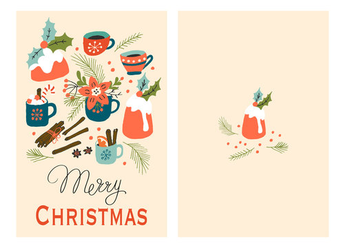 Christmas Holiday Greeting Cards with Pudding and Hot Drink. Xmas winter poster collection