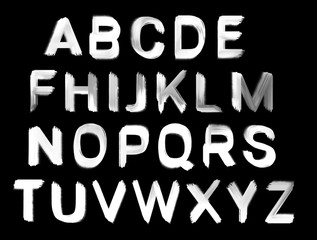 Black and White Hand Painted Brush Letters - Uppercase Alphabet
