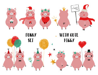 Funny Set Of Cute Pink Pig.