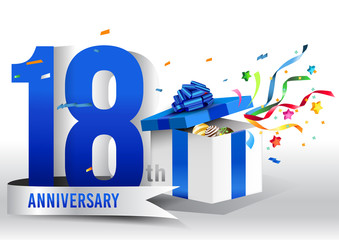 18 years anniversary background with ribbon, confetti and gift on white. Poster or brochure template. Vector illustration.