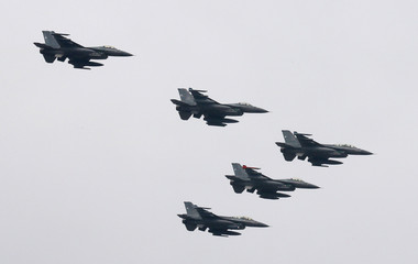 Chilean Air Force F-16s are seen during the annual military parade in Santiago