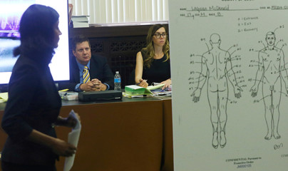 An enlarged diagram of bullet entry and exit wounds found on the body of Laquan McDonald is shown to the jury during the trial of Chicago police officer Jason Van Dykein Chicago