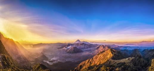Panorama of Mount Bromo volcano (Gunung Bromo) during sunrise in East Java, Indonesia.