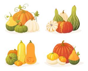 Colorful pumpkin set
